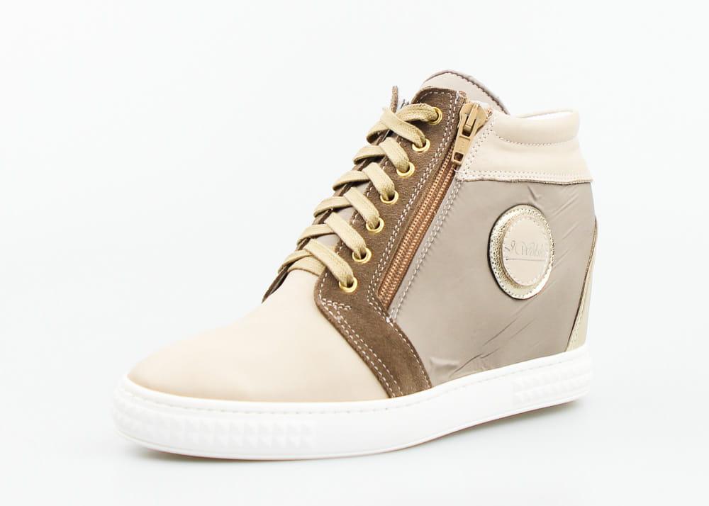 Sneakersy koturny skórzane beżowe J. Wolski